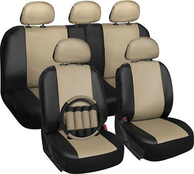 Faux Leather Tan Black Seat Cover for Ford Explorer w/Steering Wheel/Head Rests