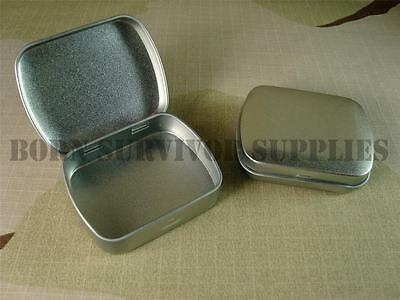 MINI HINGED LID TIN Silver Small Empty Plain Metal Storage Bit Box Survival Kit