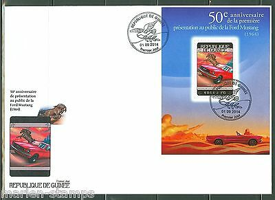 GUINEA 2014 50th   ANNIVERSARY OF THE FORD MUSTANG SOUVENIR SHEET FDC