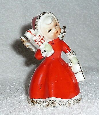 Vintage Christmas NORCREST Spaghetti Angel Bell Figurine Shopper Holiday XMAS