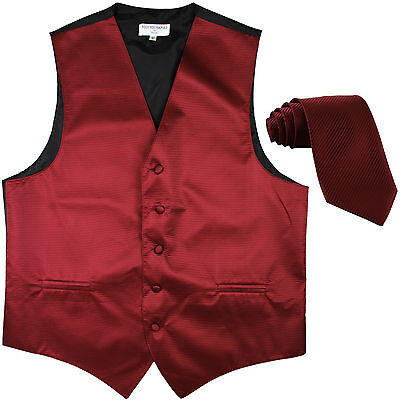 New formal men's tuxedo vest waistcoat & necktie horizontal stripes burgundy
