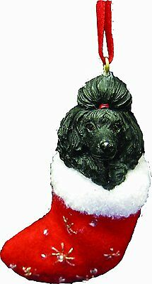 Poodle Black Dog Santa's Little Pals Stocking Christmas Ornament
