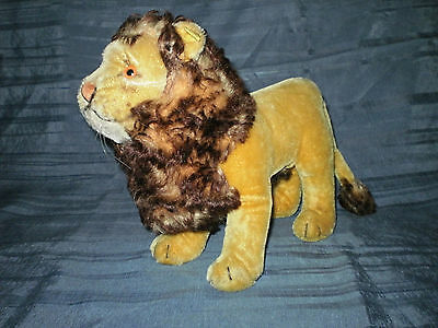"""VINTAGE STEIFF TALL STANDING LION 9.45"""" w BUTTON AND TAG"""