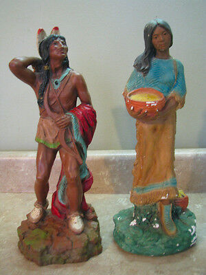 """NATIVE AMERICAN INDIAN Vtg Statue Set MAN & WOMAN W/BABY Sculpture 14.5"""" TALL"""