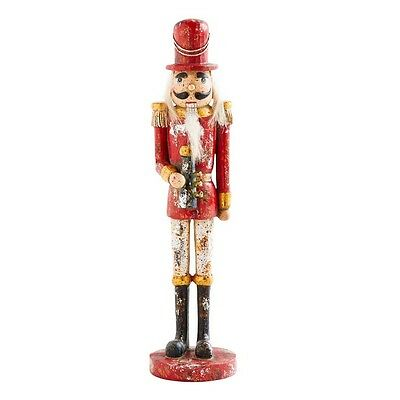 """Toy Soldier Nutcracker Red Painted Christmas Decor 11"""" NeW"""