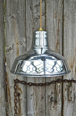 Retro Style Polished Aluminium Factory Industrial Hanging Light Shade Afs1B