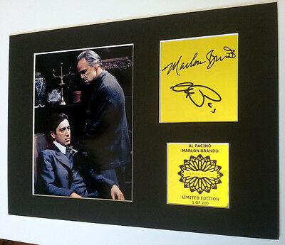 The Godfather mounted quality signed pre print 12 x  8 in gold limited edition