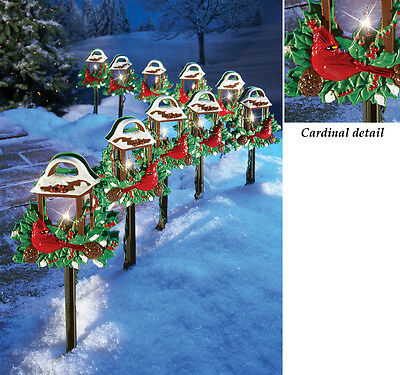 SET OF 10 RED BIRDS CHRISTMAS OUTDOOR HOLIDAY YARD LIGHTS DECOR NEW