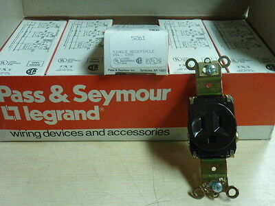 NOS! LOT of (10) PASS & SEYMOUR 15A-125V SINGLE RECEPTACLE, #5261, BROWN