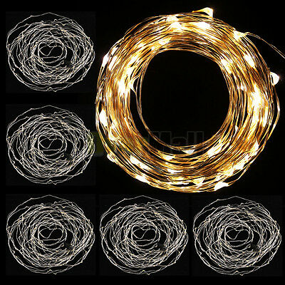 5x Warm White 10M 33ft Copper Wire 100LED String party decoration light DC5V New