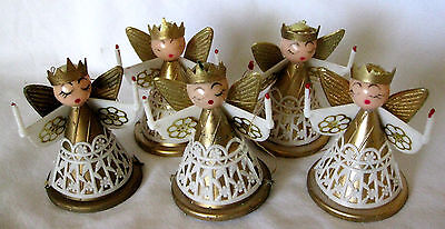 vintage Angel Christmas decorations set of 5 ornaments ADORABLE