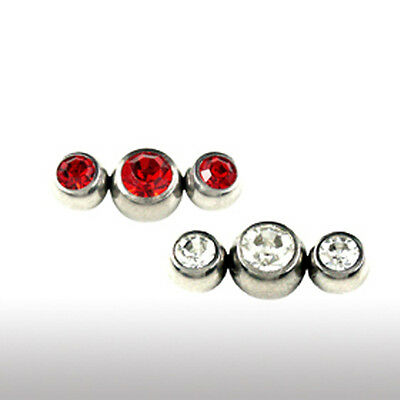 1,2mm Piercing Acier Version De 3 Parties Boule Cristal Hélix Tragus Piercing