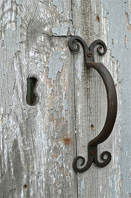 Handwrought Iron Scroll Ended Door Handle Pull American Folk Art Door Pull Dh2