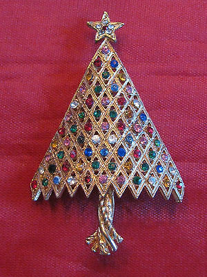 "BEAUTIFUL 2 1/2"" MULTI COLORED RHINESTONE CHRISTMAS TREE PIN"