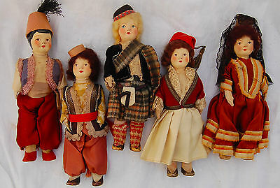 1910 Composition Doll Stockinet Souvenir National Costume Scottish Spanish +More