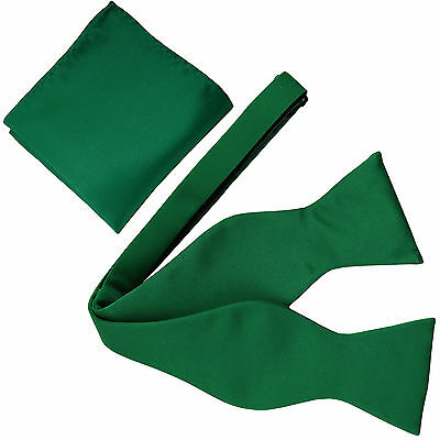 New Men's Polyester Solid Formal Self-tied Bow Tie & hankie set emerald green