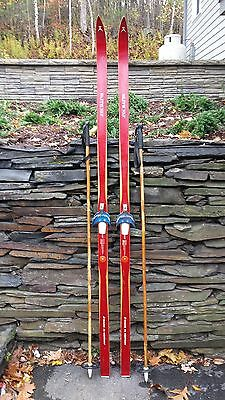 "VINTAGE HICKORY Wooden 75"" Skis Has RED Finish ELITE + Bamboo Poles"