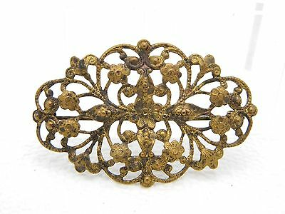 Vintage Gold Tone Filigree Floral C Clasp Pin Brooch