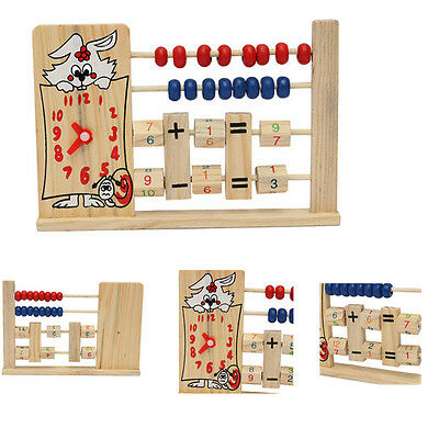 Wooden Clock Number Maths Counting Abacus Bead Kids Educational Calculating Toy