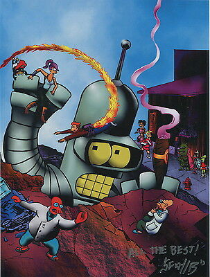Futurama Fantastic Four Fun Spoof Signed Color 8.5x11 Tribute Print