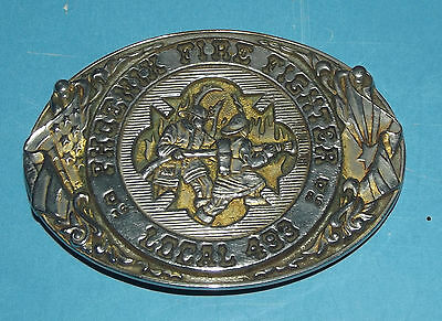 Fire Fighter Phoenix Local 493 Brass Belt Buckle USA Collectors Limited Edition
