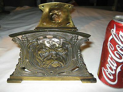 Antique Art Nouveau Judd Cast Iron Brass English Bulldog Dog Book Rack Holder
