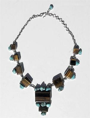 Absolutely Gorgeous Handcrafted Sterling Silver Turquoise and Tiger Eye Necklace