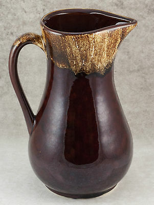 Vintage Robinson Ransbottom Brown Drip Pottery 9.5 Inch 8 Cup Pitcher