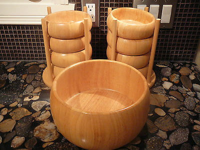 9 pc RUBBERWOOD SUSTAINABLE WOOD SALAD BOWL SET + 2  RARE BOWL STANDS