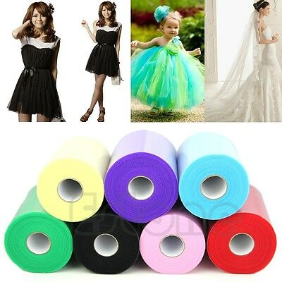 "6""x100yd(6""x300') Spool Tutu Craft Gift Tulle Roll Wedding Party Bow Decoration"