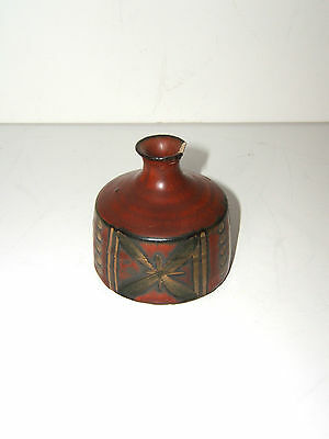 Ceramic Pottery Pot w/ DRAGON FLY VASE / Signed M Q C - Japan /1900-1940/ Red