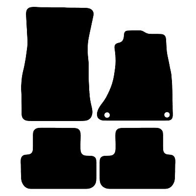 Audi A4 B8 2008 to 2015 Tailored Carpet Car Floor Mats in Black 4pc Set 2 Clips
