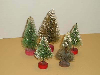 5 Vintage Bottle Brush Christmas Trees Snow Variety of Wood Bases OLD