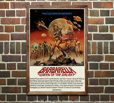 Jane Fonda Barbarella Vintage Movie Film Poster [6 sizes matte+glossy available]