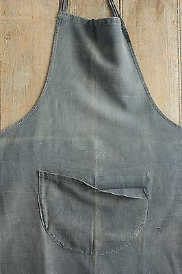 Indigo blue dyed French vintage Work wear APRON work clothes textile distressed