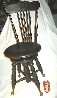 Antique American Country Wood & Cast Iron Ball Claw Hardware Piano Stool Chair