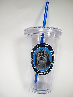 Shih Tzu Acrylic Double Wall Insulated Tumbler Puppy Dog Christmas Gift Cup