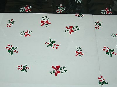 "1 Roll 20"" x 100' Candy Canes Christmas Designs Clear Cellophane Gift Wrap"