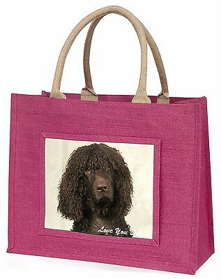 Irish Water Spaniel 'Love You Dad' Large Pink Jute Shopping Bag Anima, DAD-59BLP