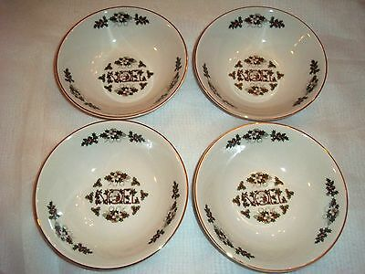 Lot of 4 Cereal or Soup Bowls Wood & Sons ~ Made in England Noel Christmas Bowls