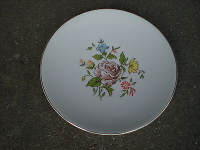 "Vintage Edwin Knowles Brown Rose Floral 6 1/4"" Dessert/Bread Plate  Flowers USA"