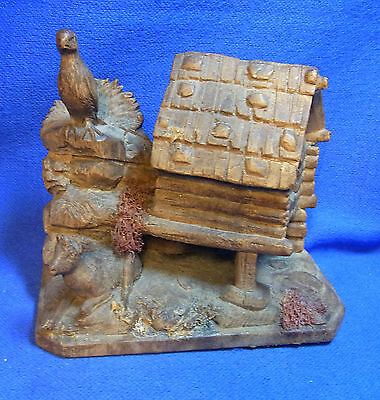 Antique Wood Carved Black Forest House Hunting Scene for Restauration #CD