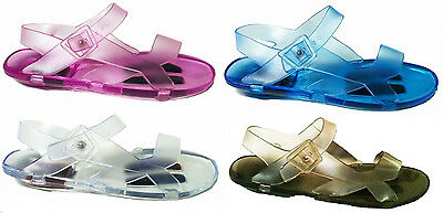 Ladies Jelly Sandals with Rigid Sole Womens Flat Beach Shoes Girls Holiday Pool