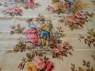 Vintage French Pastoral Fabric ~ Grape Harvest Couple ~ Blue Pink Mustard Brown