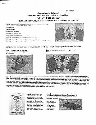 Fulton Car Sun Shield 800 Visor INSTRUCTIONS Manual auto automobile exterior