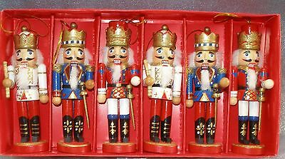 6 MINIATURE WOODEN NUTCRACKER CHRISTMAS ORNAMENTS - NEW IN THE BOX