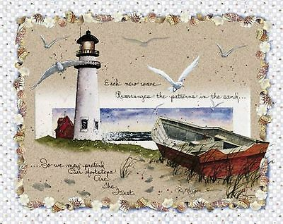 By the Sea Lighthouse Quilt top Wallhanging Panel Fabric Cotton Beach Nautical