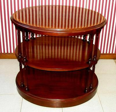 VINTAGE 3 TIER OVAL SIDE DRUM LAMP TABLE MAHOGANY 1940-S