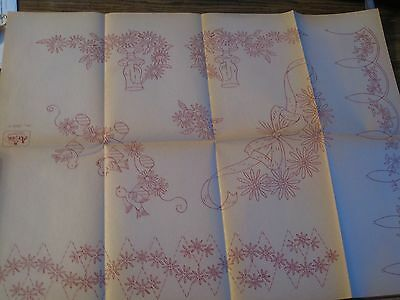 Io-A338 Vtg Artex Hand  Embroidery Transfer-Linen Borders-Candles,Flower