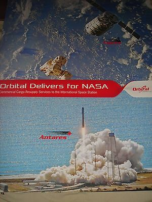 """Large Official Nasa/orbital Launch/resupply Mission Poster + 4"""" Orb-2 Decal"""